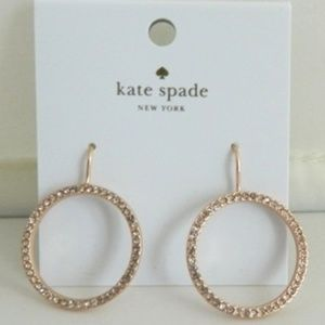 KATE SPADE Pave Open Ring Earrings in Rose Gold